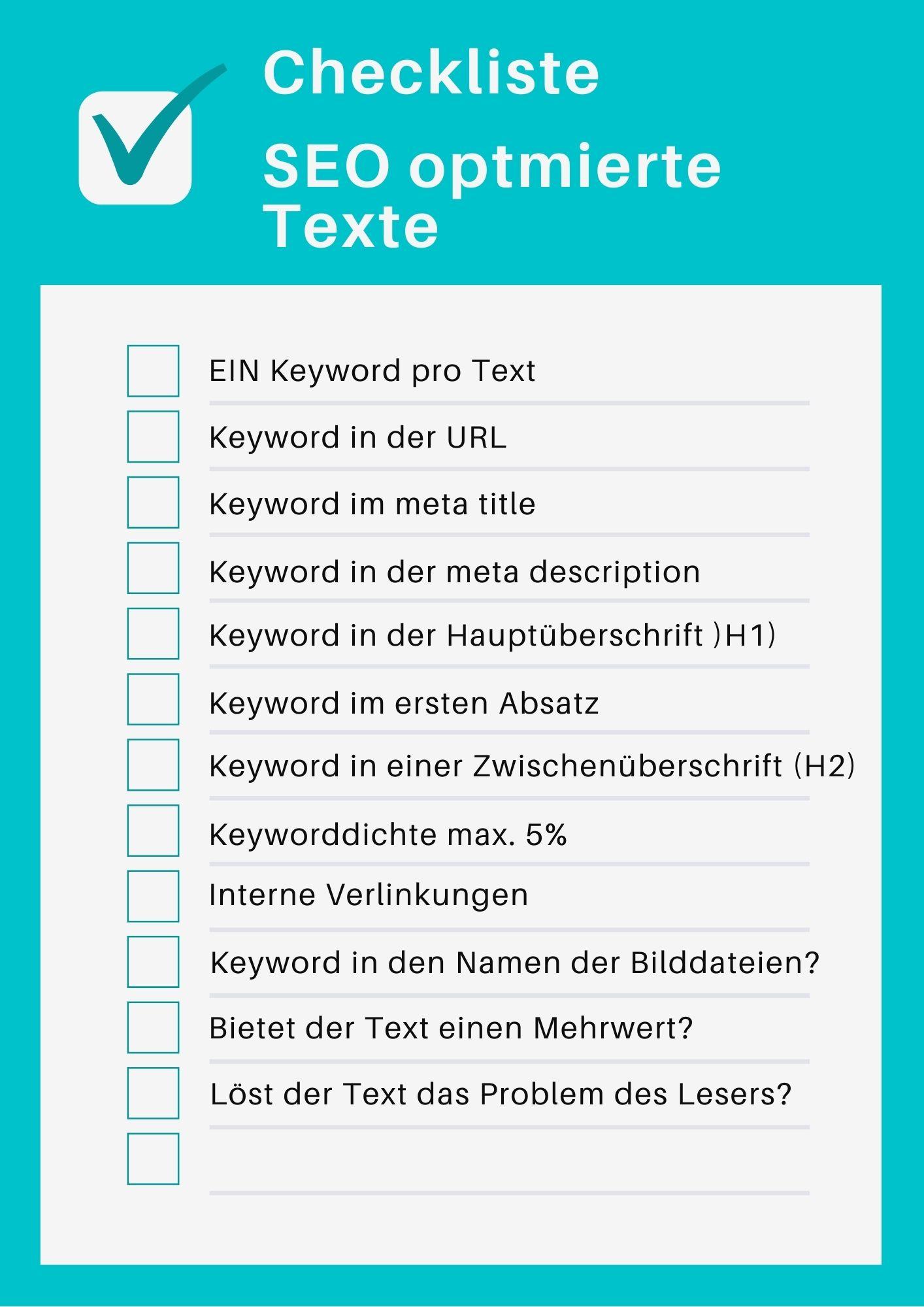 Checkliste für SEO optimierte Texte